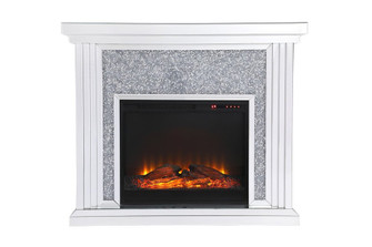 47.5 in. Crystal mirrored mantle with wood log insert fireplace (758 MF9902-F1)