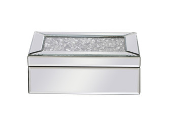 10 inch Rectangle Crystal Jewelry BoxSilver Royal Cut Crystal (758 MR9209)