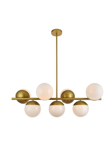 Eclipse 7 Lights Brass Pendant With Frosted White Glass (758 LD6138BR)