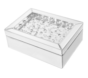 Sparkle 10 in. Contemporary Crystal Jewelry box in Clear (758 MR9119)