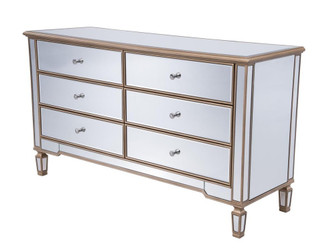 6 Drawers Cabinet 60 in. x 20 in. x 34 in. in Gold paint (758|MF6-1136G)