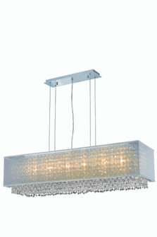 1691 Moda Collection Hanging Fixture w/ Silver Fabric Shade L41in W13in H11in Lt:6  Chrome Finish (R (758|1691D41C-CL03/RC)