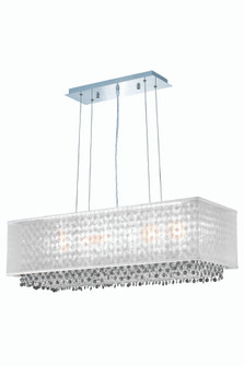 1691 Moda Collection Hanging Fixture w/ Silver Fabric Shade L34in W12in H11in Lt:5 Chrome Finish (Sw (758|1691D34C-CL03/SS)
