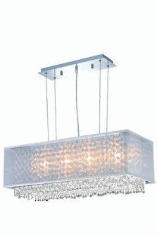 1691 Moda Collection Hanging Fixture w/ Silver Fabric Shade L29in W13in H11in Lt:4 Chrome Finish (Sw (758|1691D29C-CL03/SS)