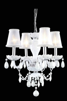 7834 Princeton Collection Hanging Fixture D17in H18in Lt:4 White Finish (Royal Cut Crystal White) (758|7834D17WH-WH/RC+SH)