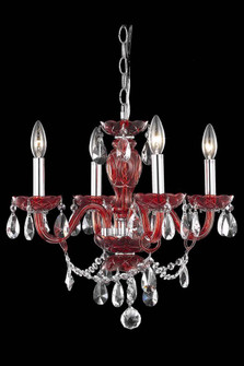 7834 Princeton Collection Hanging Fixture D17in H18in Lt:4 Red Finish (Royal Cut Crystal Clear) (758|7834D17RD/RC+SH)