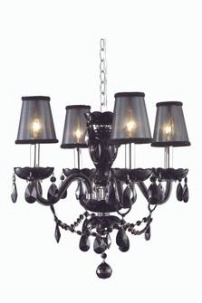 7834 Princeton Collection Hanging Fixture D17in H18in Lt:4 Black Finish (Royal Cut Crystal Jet Black (758|7834D17B-JT/RC+SH)