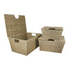 JVL Set of 3 Large Tapered Natural Seagrass Storage Boxes Basket with Lid and Handle