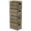 JVL 4-Drawer Seagrass Storage Tower Unit with Black Metal Frame