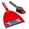 Vileda Dust Pan and Brush Set Durable Plastic Long Bristle Red