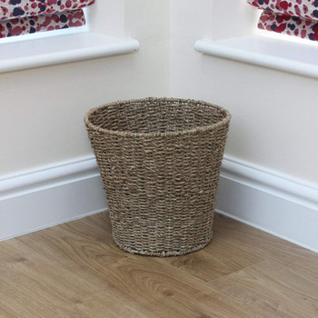 Natural Round Seagrass Waste Paper Basket Bin, 28 x 25 cm