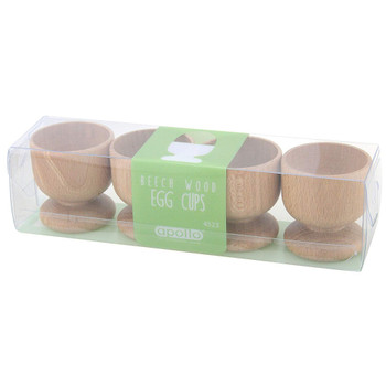 5.5 cm Wood Beech 4 Egg Cup Set Natural Wood