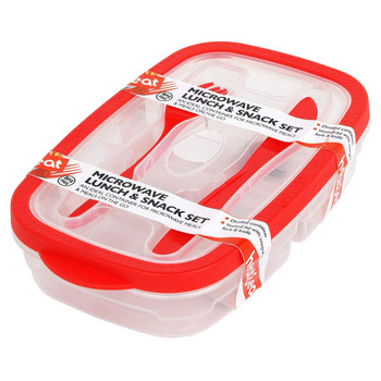 Heat & Eat 270 x 160 x 57 mm Polly Prop Lunch Box, Red