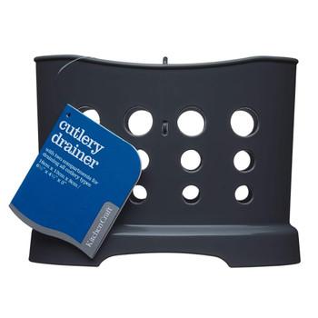 "Plastic Cutlery Drainer Basket, 16 x 8 x 12 cm (6.5"" x 3"" x 4.5"") - Grey"