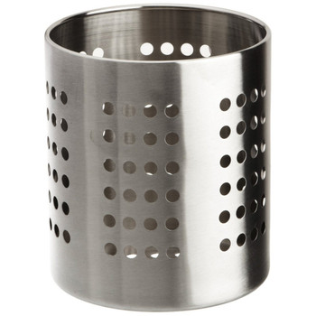 Stainless steel utensil holder Easy to clean Strong and long lasting item to keep utensils in a safe place Silver