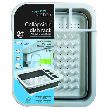 Collapsible Dish Drainer, White/Grey
