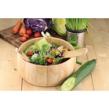 31 x 27 cm Rubber Wood Salad Bowl and Servers, Natural Wood