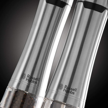 Battery Powered Salt and Pepper Grinders 23460-56 - Stainless Steel and Silver