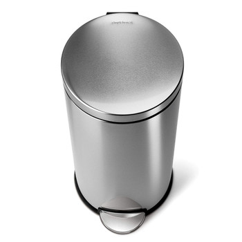 Round Pedal Bin, 30 L - Fingerprint-Proof Brushed Stainless Steel