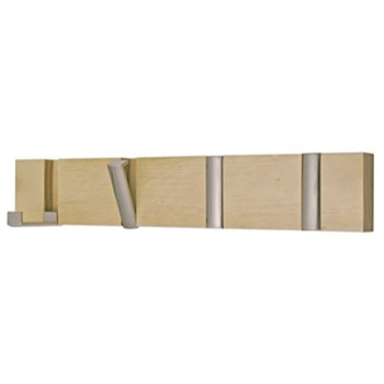 Coat Hook Board with 4 Chrome folding Hooks Pine wood