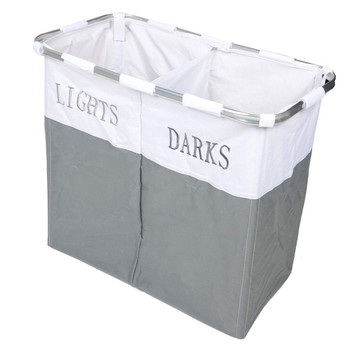Lights and Dark Folding Laudry Basket Hamper Washing Cloths Storage, Metal, Grey/White, 20CM