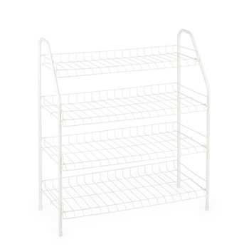 4 Tier White Wire Shoe Rack, Holds Up To 16 Pairs of Shoes, Large