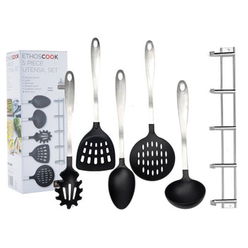 Cook 5-Piece Utensil Set with Hanging Rack, Stainless Steel, Black