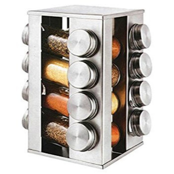 Gems Revolving Metallic Spice Rack with 16 90ML Jars, Quartz