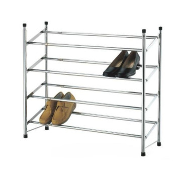 4 Tier Extendable Stackable Shoe Rack Organiser Storage Metal Chrome Plated