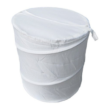 Heavy Duty Luxury Polyester Pop Up Laundry Basket, White, 100% Polyester