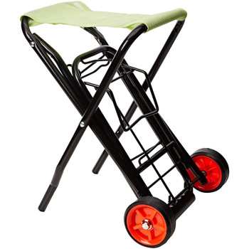 Folding Festival Trolley with Seat - Black