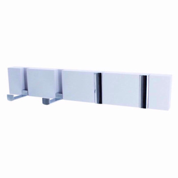 Coat Hook Board with 4 Chrome folding Hooks White wood
