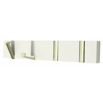 Coat Hook Board with 4 Chrome folding Hooks White wood