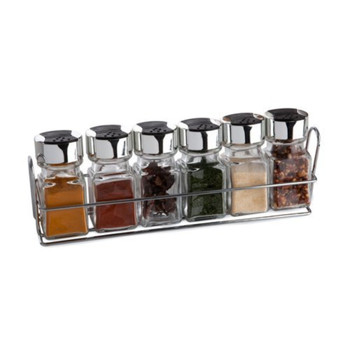 Spice Rack and Jars, Glass, Silver, 6-Piece