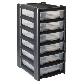 Plastic Storage Drawer Unit Organizer Tower with 6 Shallow A4 Paper Drawers