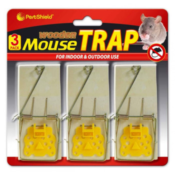 Pestshield Reusable Classic Wooden Mouse Trap 3 Pack