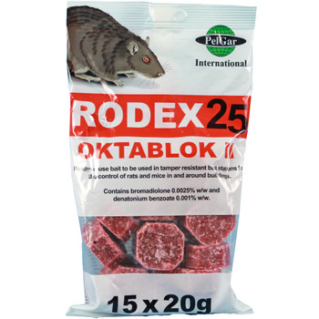 Pelgar All Weather Rodex 25 Oktablok II Rat and Mouse Killer Bait Poison (OCTA300)