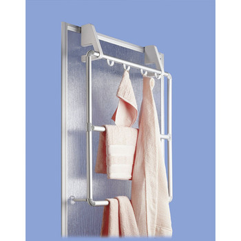 Wenko Aluminium Towel Holder for Door and Shower Cabin Compact with 4 Hooks