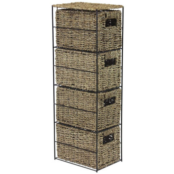 4-Drawer Seagrass Storage Tower Unit with Black Metal Frame