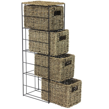 JVL 4-Drawer Seagrass Storage Tower Unit with Black Metal Frame