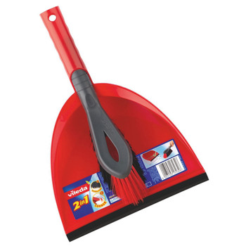 Vileda Dust Pan and Brush Set Durable Plastic Long Bristle Red