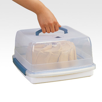 Square Cake Box - Clear/Blue, 12.6 L