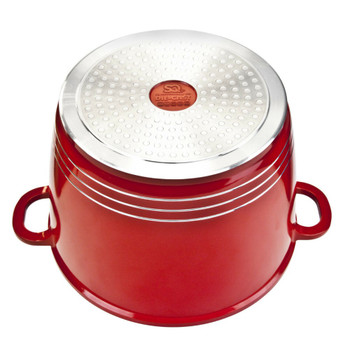 SQ Pro 24cm Nea Non Stick Die Cast Aluminium Stockpot Soup Pot Glass Lid Induction Red