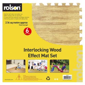 Rolson Interlocking Wood Effect Mat Set Water resistant, non-slip
