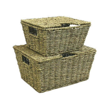 JVL Set of 2 Large Tapered Natural Seagrass Storage Boxes Basket with Lid and Handle