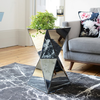 Espello smoked mirrored side table
