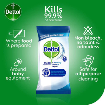 Dettol Surface Cleaning Wipes Antibacterial Airtight Resealable Pack 126pk-2