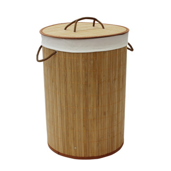 JVL Natural Bamboo Round Collapsible Lined Laundry Basket