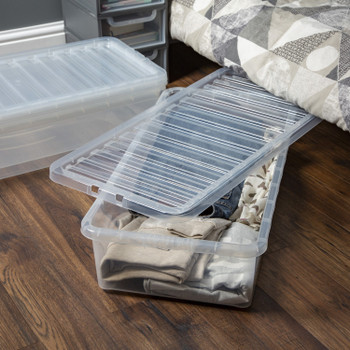 Whatmore Crystal Clear Plastic Storage Boxes with clip-on Lid