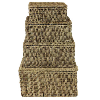 JVL Natural Seagrass Storage Baskets Set of 4 Metal Wire Frame
